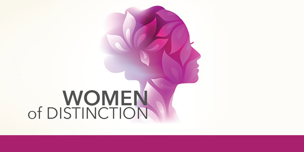 Women of Distinction graphic with rendering of woman's head