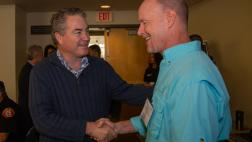 Asm. O'Donnell greeted by Dr. Chris Lowe